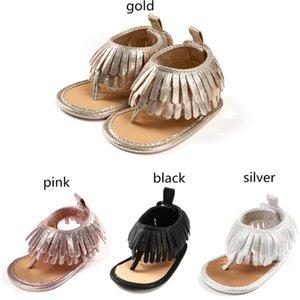4 colores niñas bebé bling bling borlas sandalias de la correa de la pu suave único dedo del pie sandalias de los niños del verano mocasines de moda lindo primeros caminantes