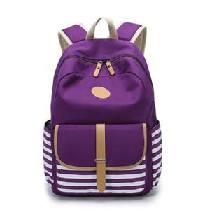 New School Bags Navy Stripes Backpack Canvas Bag Students Backpack Bag High Quality Fabric Super Practical Large Space free shipping