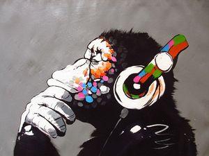 Dj Monkey ape pop Banksy Street Art Graffiti wall decor Handpainted Monkey Animal Art Oil Painting On Canvas.Multi customized sizes foxA98
