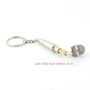 Personalidade microfone confession key ring 3D microfone chaveiro Grande presente para o amor secreto Pode esconder cartas de amor