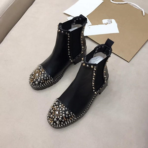 Women Real Leather Motorcycle Boots Shoes Black Studded Female Winter Fashion Short Knight Booties Crystals Runway Martin Boots Mujer