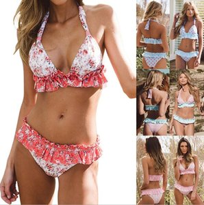 2018 New Two pieces of bathing suit Printed folding skirt split swimsuit Two Piece Swimsuit Bikini