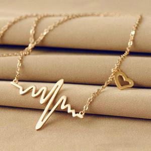 Ecg Collier Amour En Forme de Titane Acier Heartbeat Lockbone Chaîne Coeur Pendentif Collier Femme Rétro Collier Bijoux Accessoire