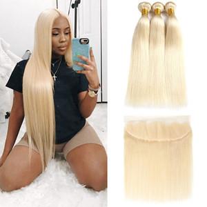 Complète 613 Blonde Cheveux Vierges Brésiliens 3 Bundles Avec 13x4 Dentelle Frontale Droite 100% Cheveux Humains Armure Blonde Bundles Avec Extension Frontale