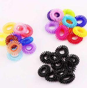 10 Adet / grup Yeni 2 cm Küçük Telefon Hattı Saç Halatlar Kız Renkli Elastik Saç Bantları Çocuk At Kuyruğu Tutucu Kravat Sakız Saç Aksesuarları