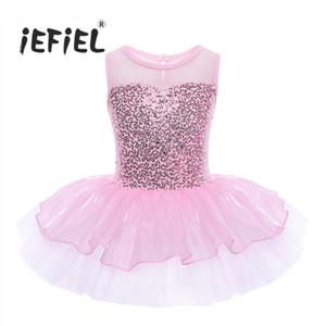 IEFiEL Meninas Sem Mangas Lantejoulas Formais Ballet Ginástica Ginástica Leotard Vestido de Balé Dançarino Tutu para Crianças Crianças Bailarina