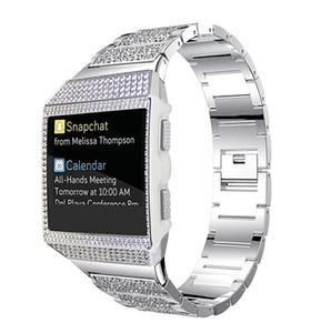 Für Fitbit Ionic Crystal Diamond Gehäuse aus Edelstahl Metallarmband Ersatzarmband mit Schale für Fitbit Ionic