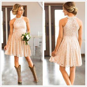 Duración de la rodilla de encaje Halter A Line Country Vestidos de dama de honor con cuentas de boda corta fiesta de huéspedes damas de honor de vestidos de honor