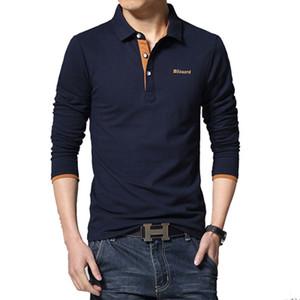 Yaz Rahat Polo Gömlek Erkekler Moda Mektup Baskı Uzun Kollu erkek Polos Yeni Varış Moda Marka Polo Gömlek Adam Ince Polos