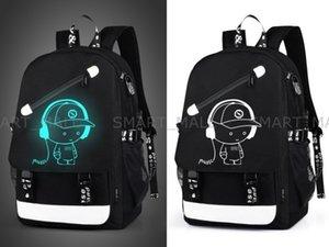 estilo Senkey Homens Mochila Moda com USB externa de carregamento função carregador de laptop Mochila dos desenhos animados Anime Luminous Escola noctilucentes Bags