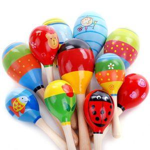 Nova Moda Bebê De Madeira Maraca Mão Chocalhos Crianças Musical Favor de Partido Criança Shaker Do Bebê Instrumento Musical de Percussão Educação Brinquedo