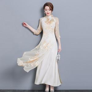 Vestido de verão Mulheres Longo Impresso Cheongsam Vietnam Vestidos Tradicionais Robes Aodai Graciosa Gola Vestido Qipao Ao Ar Livre fino