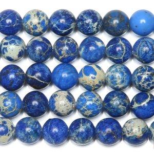 "8mm 15 ""Natural Stone Blue Sediment Sea Turquoises Imperial Jaspers Branelli allentati rotondi 6 8 10 12MM Pick Size"