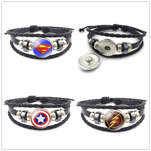 Snaps Schmuck Snap Button Armband Fit 18mm Snap Button Schmuck Multilayer Snap Leather Aussage Armbänder