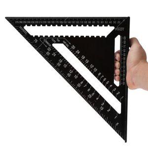 12 인치 블랙 삼각형 통치자 목공 측정 도구 빠른 읽기 정사각형 레이아웃 도구 목공 게이지 측정 도구