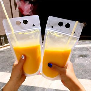 Bebidas plástico bolsa de leche contenedor de café bolsa de té de frutas Bebida auto-sellado de bolsas de almacenamiento de alimentos Jugo T3I0373