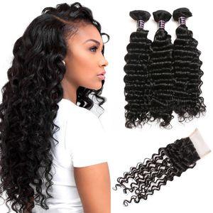 Meilleur 10A brésilien vague profonde de cheveux bouclés 4 Bundles avec fermeture en gros du Pérou en Malaisie Human Hair Extensions Indien de Vierge cheveux