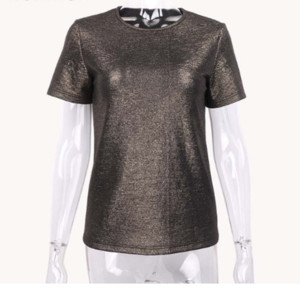 New Summer Shiny Top T-Shirt basic da donna T-shirt casual con scollo a O T-shirt donna in cotone tinta unita manica corta elastica