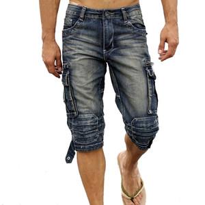 Neues Sommermens Retro Cargo Jeans-Shorts Vintage-Säure-Multi -taschen Militärstil Biker Großhandel kurzen Jeans Männer Faded Washed