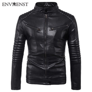 Envmenst осень новые мужчины мульти-карманные кожаные куртки полосатые рукава плеча Pu кожаный пальто мужская кожаная куртка