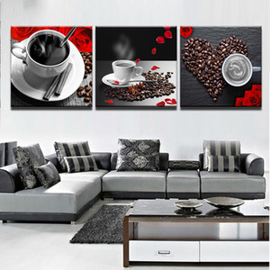Wall Art Picture Home Decoration Room Canvas Print Wall Picture 3 Pieces Coffee Art Petal Coffee Bean Cup Printing On Canvas