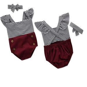 Summer Thin New Striped pattern Backless Flying sleeve Halter snug Girl 3-24 Months Children Rompers 17067