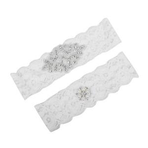 Artı Boyutu Gelin Gelin Dantel Düğün Garters için Garters Kristaller Inciler Kemer Ücretsiz Kargo Beyaz Ucuz Düğün Bacak Garters Gerçek resim