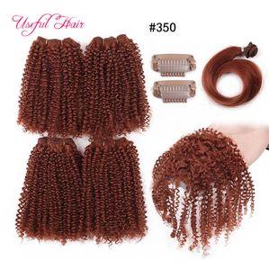 fasihon 2018 crépus faisceaux bouclés tissage de cheveux synthétiques 200g 12inch cheveux brésiliens faisceaux cheveux alignés cuticule