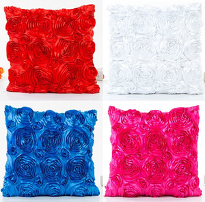 Pink Blue Green White Rose Flower Cushion Cover 3D Floral Solid Color Pillow Cover 11 Styles Pillow Cases 40X40cm Wedding Decor