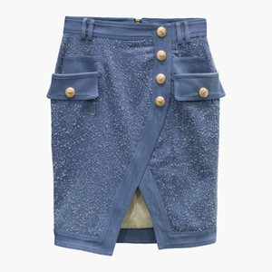 New Style Top Quality Original Design Women's Double-Breasted Skirt Scrub Washed Metal Buckles Package Hip Skirt