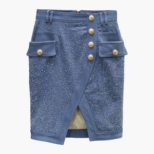Nuevo estilo de calidad superior diseño original Falda de doble pechera Falda Falda lavada Metal Hebillas Paquete Falda de cadera