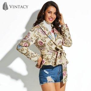 Vintacy Frauen Mantel Lace-Up Beige Langarm Floral Vacation schlank Print Top 2018 Mode moderne weibliche Mädchen Frauen Mantel