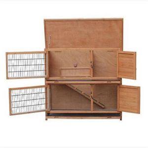 Ücretsiz kargo toptan 2 Katlı Su Geçirmez Tavuk Coop Tavşan Küçük Hayvanlar için Tavşan Evi Ahşap Ev Pet Kafes