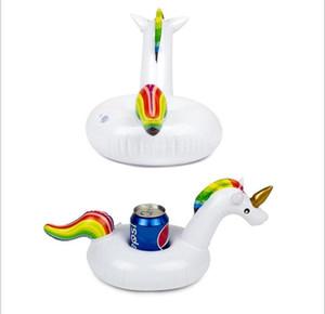 la moda inflable del PVC taza de la bebida Titular White Unicorn flamenco Portavasos Pegasus Piscina Flotante Beach Stand partido para el juguete