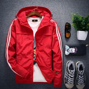 2018 mens New Solid color stripe maniche stampate design giacca con cappuccio Casual moda sottile giacca a vento cappotto di protezione solare S1015