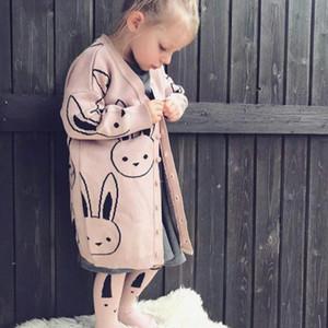 2018 Otoño Invierno Cardigan Conejo Suéter de Algodón de Punto Tops Bebé Niños Ropa Niñas Cardigan Suéter Niños Ropa de Primavera Nuevo