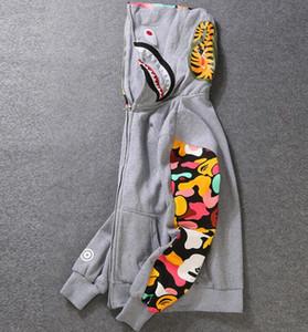 Sup Camuflagem Dos Homens novos Tubarão Boca Impressão Hoodie Plus Cashmere Camisola Das Mulheres Dos Homens macaco Com Capuz Outono Inverno Jaqueta