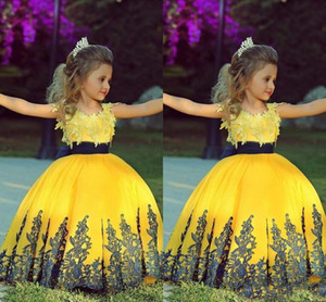 2018 jaune vif robe de bal fille Pageant robes bleu marine Sash dentelle Applique Childern Prom Party Robes Flower Girls Robes