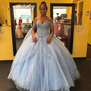 Elegant Light Sky Blue Quinceanera Dress 2018 Beadings Ball Gown Off The Shoulders Short Sleeve Puffy Sweet 15 Pageant Prom Party Gowns