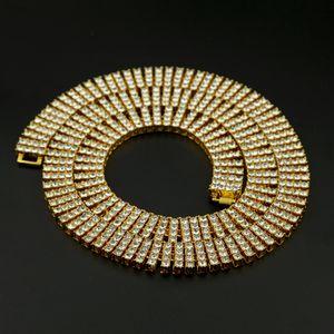 Hip Hop catena Bling Bling fuori ghiacciato Tennis 4 Row collane Sontuoso Clastic argento / oro degli uomini di colore dei monili della catena di moda NN06