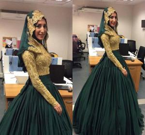 Modest Esmeralda Verde e Ouro Muçulmano Vestido De Baile Frisado Lace Manga Longa Vestidos de Noite 2018 Caftan Dubai Party Prom Vestidos Do Vintage vestido