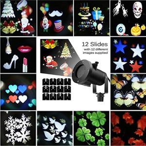 Edison2011 Dekoration Laserlicht 12 Muster LED-Projektor-Licht im Freien wasserdichten Landschaftslampe Weihnachtslicht für Feiertags-Party