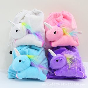 4 colori Cartoon Unicorn Doll Attack Peluche Corda Sacco Unicorn Crystal Superflexible Hair Contractile Bag Bundle Pocket Zaino per bambini 21 * 20 cm