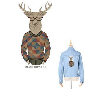 귀여운 미스터 사슴 가정용 전사 용지 의류 패치 톱 T 셔츠에 대한 DIY 장식 토트 커튼에 대한 Appliqued