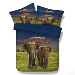 3D coroa Elephant conjuntos de cama twin queen única capa de edredão natal rei cal King Size bedpsreads bedlinens têxteis-lar para adultos