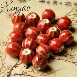 XINYAO 30pcs lot Flower Glaze Watermelon Ceramic Beads Handmade Bead With 2.5mm Hole for Women DIY Bracelets Jewelry Making 12mm