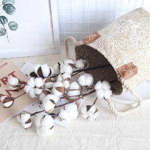 Ramo de flor de algodão artificial 10 cabeças 53 cm simulação flor DIY decoração de casamento para escritório de festa em casa
