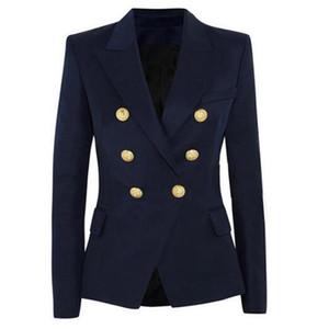 Новая мода Blazer куртка Женская Двойной Брестед Metal Lion Buttons Blazer Внешние