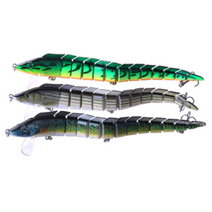 Wholesale 100 pieces Multi-section Fishing Bait 9.05   1.62OZ ribbon Sea Fishing Jointed Lure with 3 Treble Hooks Big Game Fishing Lures