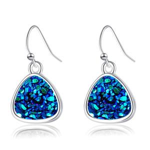 Mode Dreieck Druzy Drusy Ohrring-Silber überzogenen Kristall Druse Harz-Stein-Ohrringe Frauen Schmuck Accessoires